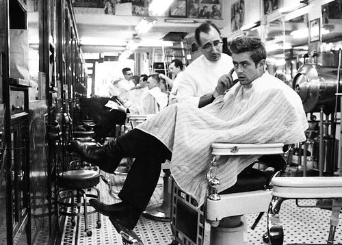He was not at all fastidious about his looks; in fact, he would turn up more often than not in shaggy-dog style at meetings both formal and informal. What prompted him to walk into this barber shop near Times Square one day when we were walking I cannot say. - Dennis Stock