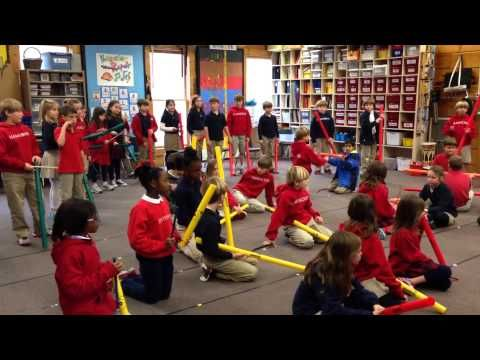"""Cool Boomwhacker Video / SMARTBoard Lesson Explore evolution of musical dynamics while playing """"Musette in D(C)"""" with Boomwhackers. All-inclusive SB lesson with BW arr. and acc. has been kid-tested and received the """"Uber-fun"""" rating. Who knew a raven's feather could be so important?"""