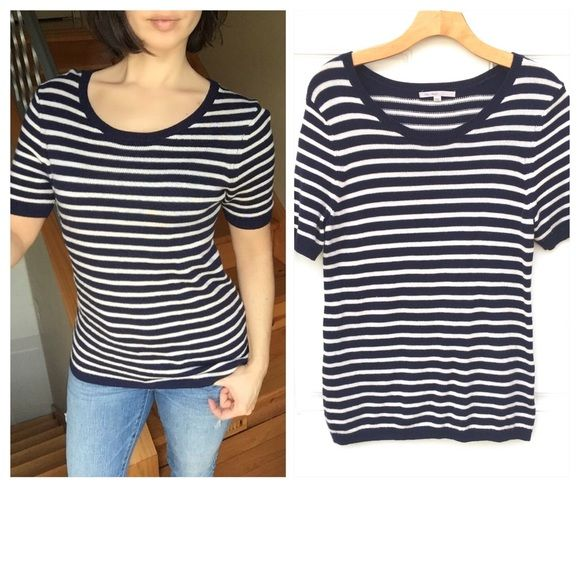 Striped Nautical Short Sleeve Top Nautical motif navy blue and white striped short sleeve sweater top by The Gap. Very soft and stretchable. This top has 27% wool. Size medium. In excellent condition!! GAP Tops Tees - Short Sleeve