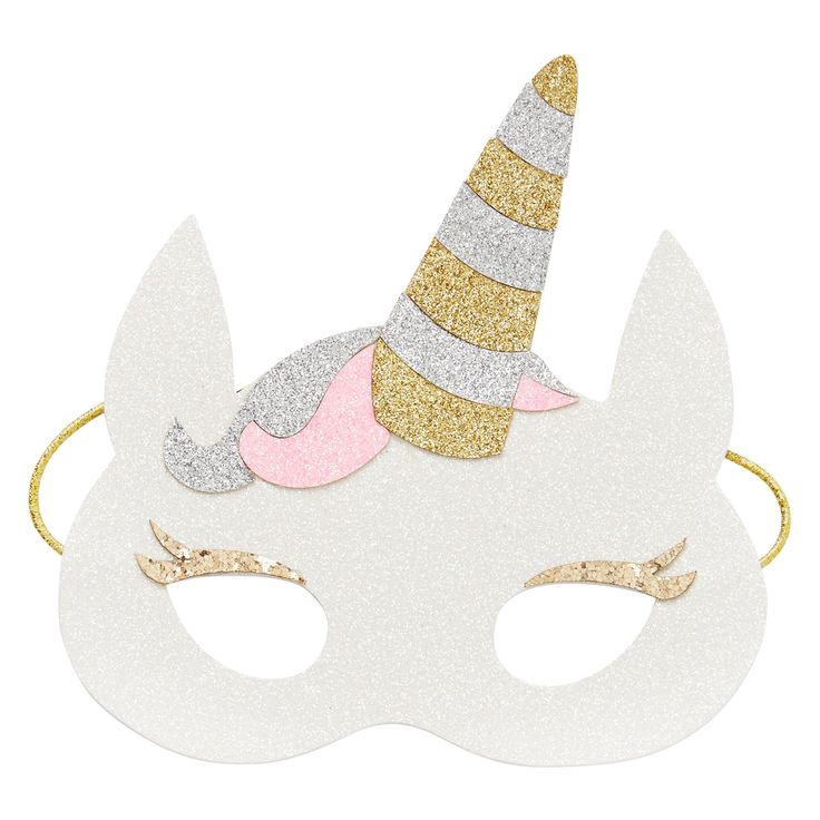 Kids Novelty Unicorn Mask. Glitter finish with soft felt back and elastic strap.