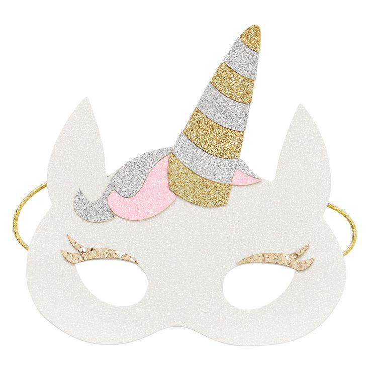 Kids Novelty Unicorn Mask. Glitter finish with soft felt back and elastic strap.