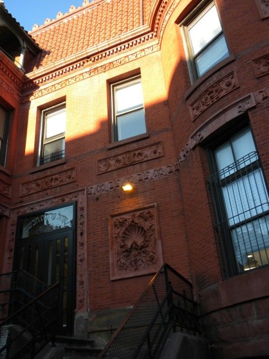 Name: Built as Millard Fillmore Smith House, now Congregation Arugath Habosem Address: 559 Bedford Avenue Cross Streets: Corner Rodney Street Neighborhood: Williamsburg Year Built: 1890 Architectural Style: Queen Anne Architect: Unknown Source:  Brownstoner.