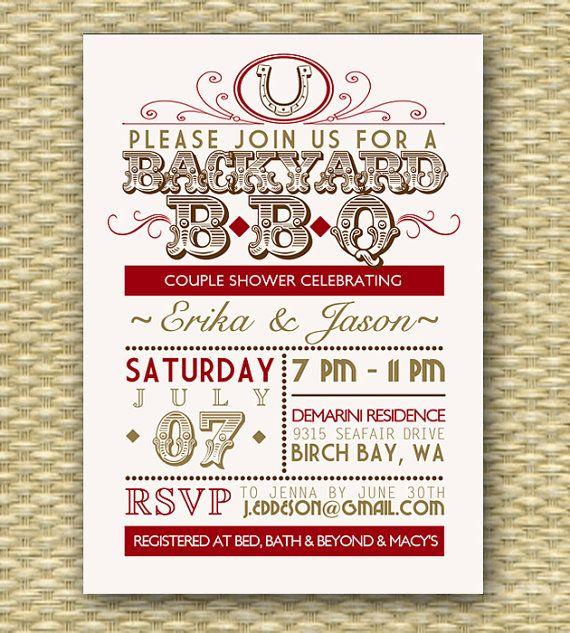 Vintage Country Western BBQ Bridal Shower/Wedding or Birthday Invitation - Typography Poster -