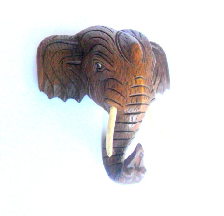 Wood carving elephant head natural hand carved wooden