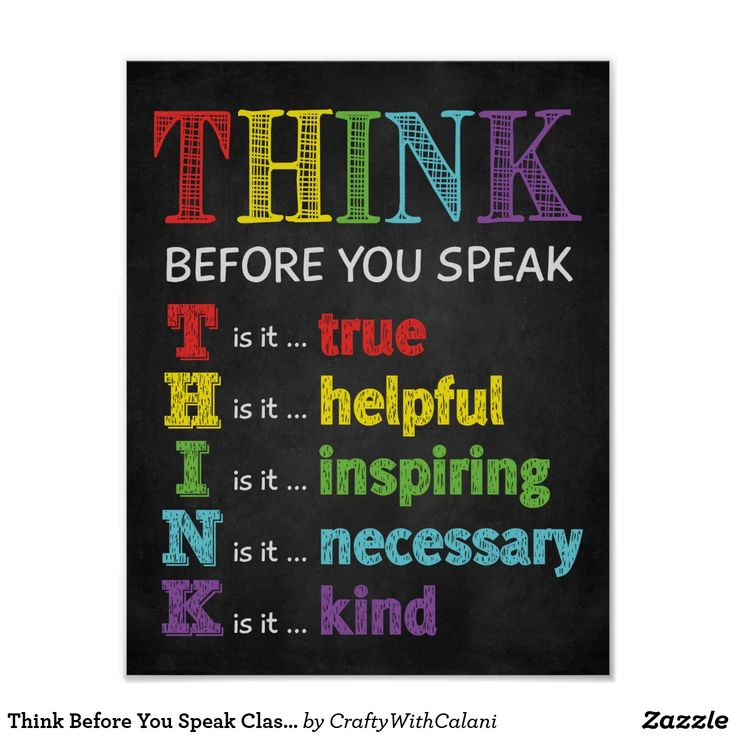 Think Before You Speak Classroom Anti Bully Poster