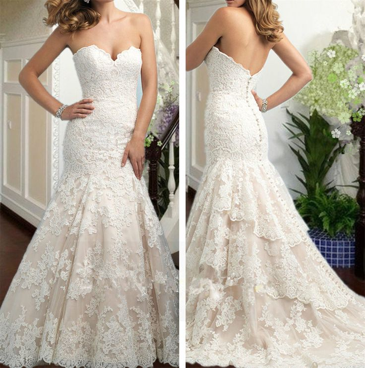 New White/ivory Mermaid Wedding dress Bridal Gown custom size 4 6 8 10 12 14 16+  | eBay
