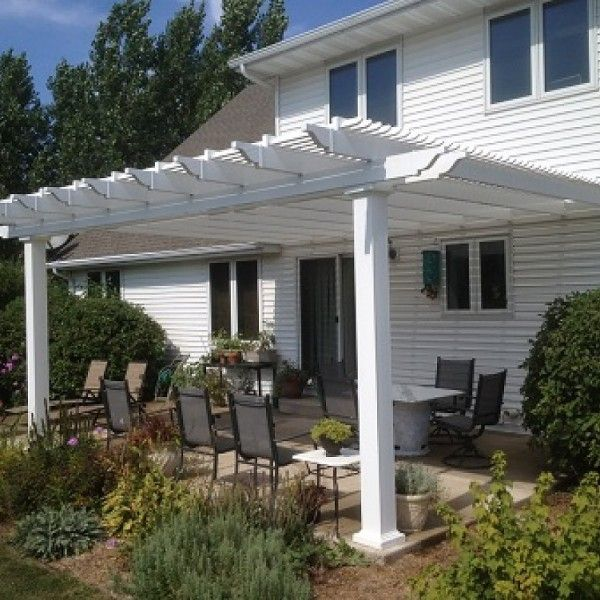 Attached 10 X 14 Pergola Kit White Vinyl W Aluminum Frame 5 Square Posts 75 Shade Buiten Pergola Pergola Patio En Achtertuin Pergola