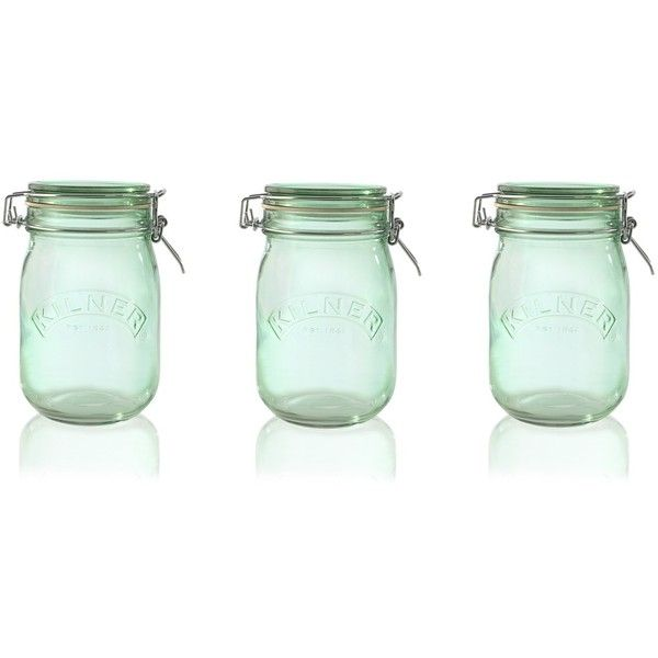 Kilner Clip Top Green Glass Storage Jars 1L Set Of 3 ($21) ❤ Liked