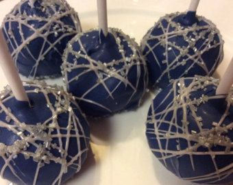 Dark Blue And Gray 12 Cake Pops Blue And Silver Favors Dallas Cowboys Party  Favors Boy