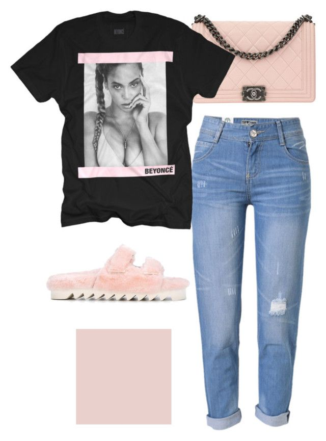 """beyoncé mood"" by ksasya on Polyvore featuring WithChic, Joshua's, Chanel, Pink, black, Beyonce and casualwear"