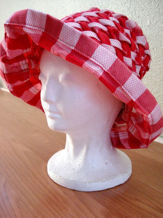Vintage 1960s Gingham Hat Red Smocked Sun Hat 201448