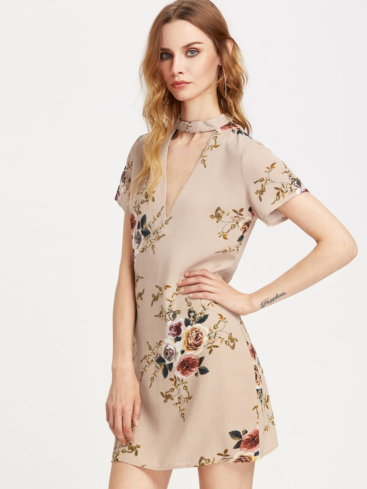 Apricot V Neckline Cut Out Floral Chiffon Dress
