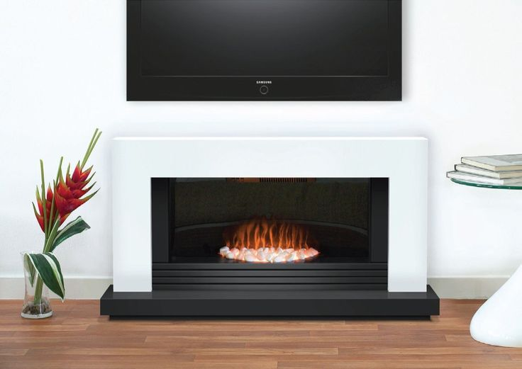Contemporary short fireplace with tv above  http://www.fireplaceworld.co.uk/package/7154/Adam-Carrera-White-Black-Electric-Fireplace-Suite#.UWNFOb-9Kc1