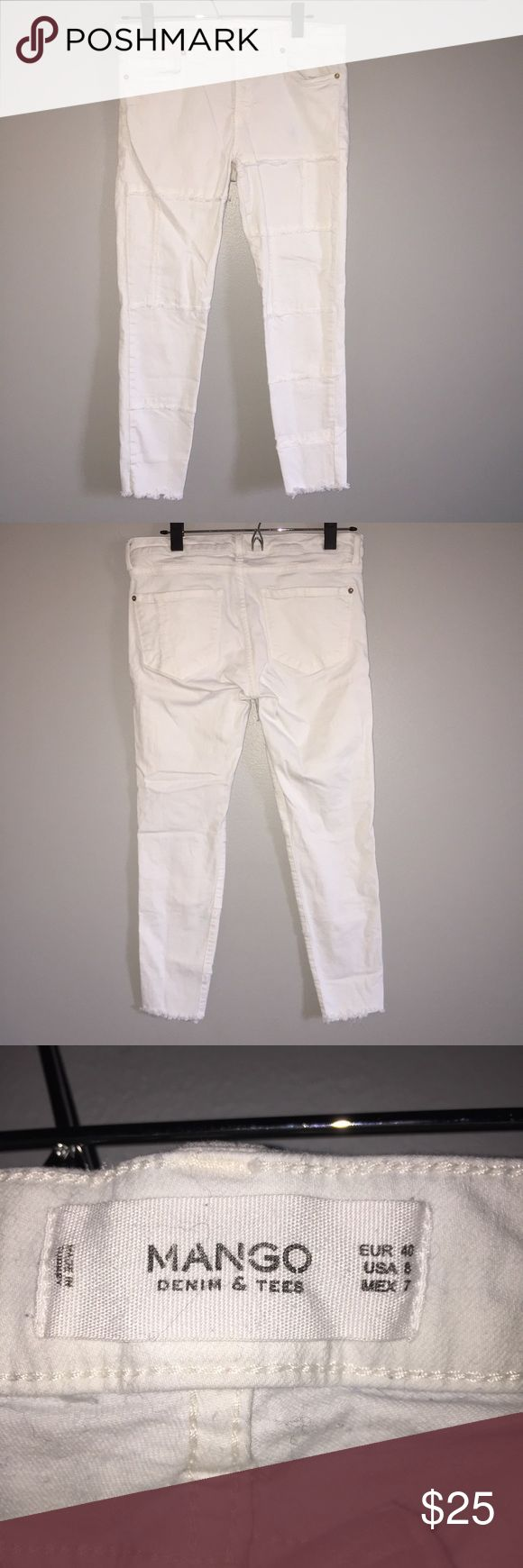Mango jeans White jeans with detailing (shown in fourth picture). Brand new quality, worn once. Super unique and cute! Mango Jeans Skinny