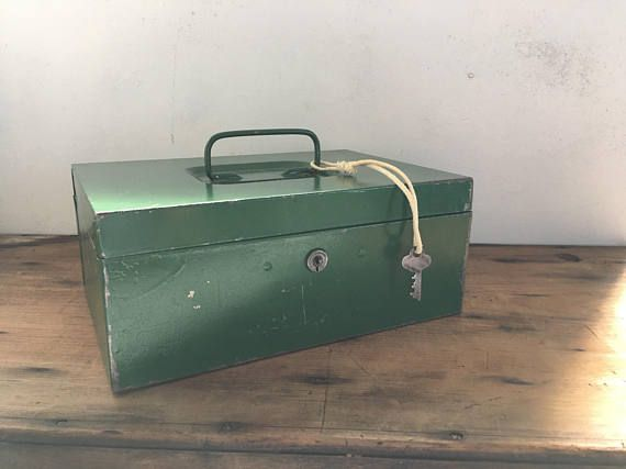Vintage Metal Box Locking Storage Box with Key Durham