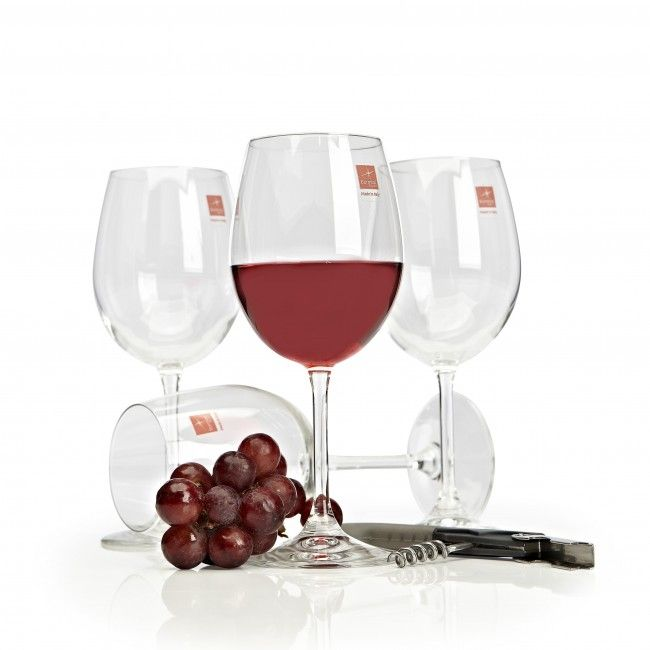 A timeless wine glass set containing four stemmed wine glasses, each capable of holding 17oz.
