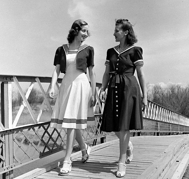 1940s  Nautical Fashion: 1940S Woman, 1940S Dresses, Sailors Dresses, 1940S Nautical, 1940S Fashion, 1940S Forty, 1940S Style, 1940 S Fashion, 1940S Sailors