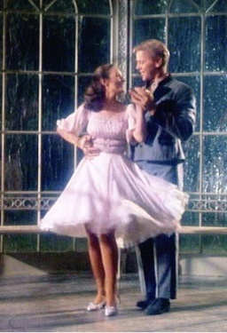 """""""I Am 16 Going On 17"""" gazebo dance with Liesel and Rolf. Dorothy Jeakins designed this dress for Charmian Carr in the 1965 movie """"The Sound of Music""""."""