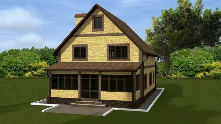 Строим дом. Проект дома с мансардой и крытой верандой. #artpro #arch #art #plans #house #3D