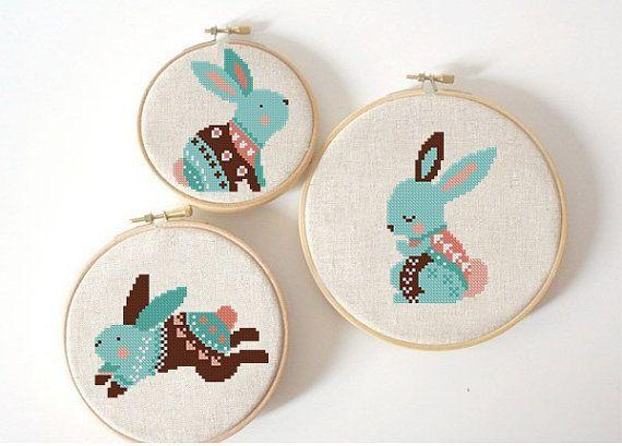 set of 3 Easter Sunday cross stitch pattern Modern cross stitch pattern Rabbit cross stitch, bunny cross stitch PDF Instant Digital Download