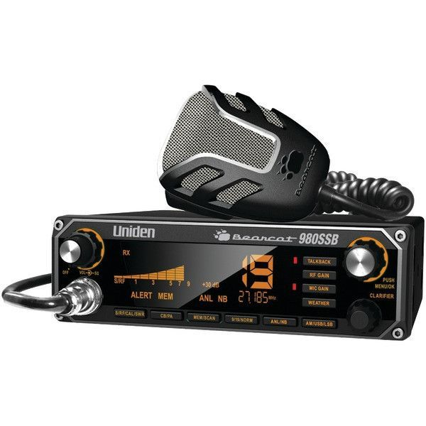 UNIDEN BEARCAT 980SSB CB Radio with SSB • 7-color backlighting • Noise-canceling microphone • Variable talkback • NOAA weather • Large digital S/RF/SWR meter • Radio diagnostics • Dynamic squelch cont