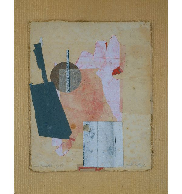 Kurt Schwitters - pink collage, 1940; collage, paper and tissue paper on pasteboard; 10 1/2 x 8 5/8 in.; Collection of David Ilya Brandt and Daria Brandt.