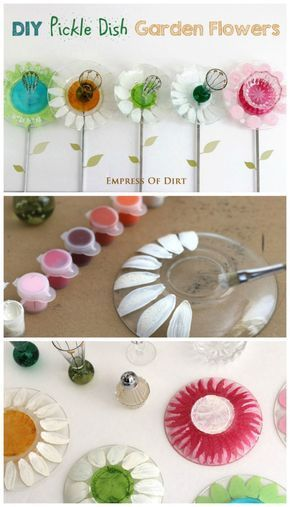 DIY Pickle Dish Garden Flowers - how to turn plain glass dishes into sweet garden art-shows painted stamens