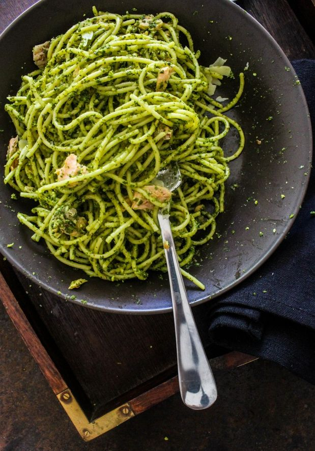 Salmon Pasta with Kale-Almond Pesto | One of the best pasta recipes we've ever tried!