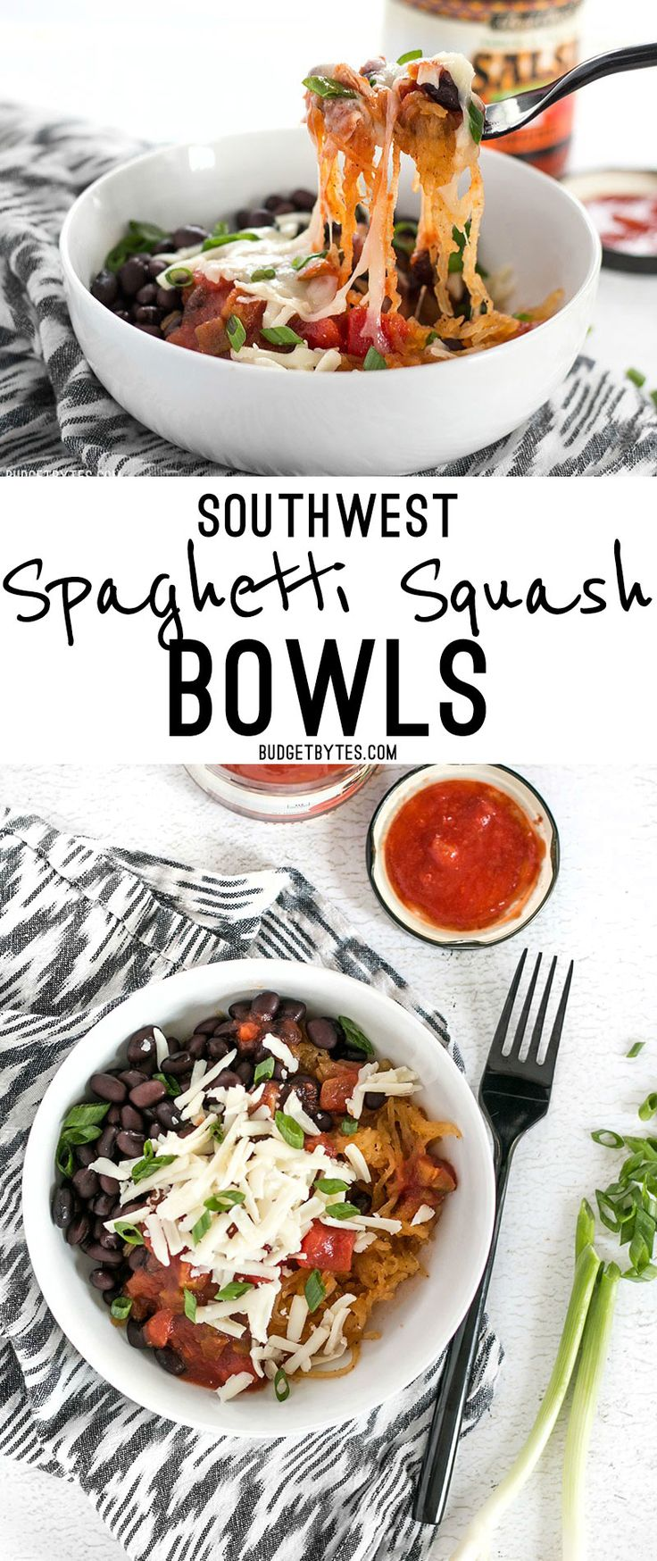 Spaghetti squash makes a great fiber-filled low-carb substitute for rice in these Southwest Spaghetti Squash Bowls.