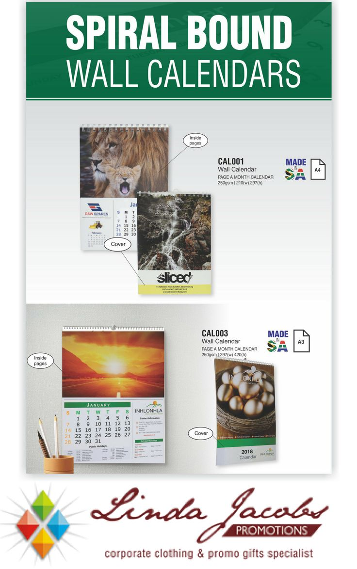 Spiral Bound Wall Calendars 📅 Themes: Sea world | Wild life | Scenic | Reflection | Inspiration | Motivation | Your own design For more info - See more products on our website - http://www.lindajacobspromotions.co.za/ Email: linda@lindajacobspromotions.co.za