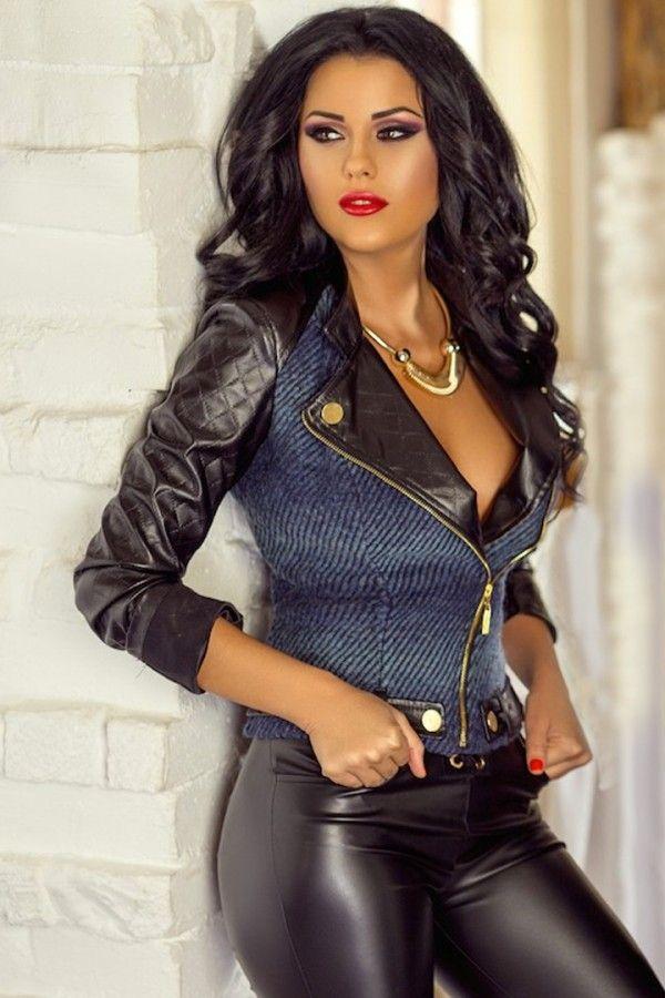 £: Giacca in denim - inserti in ecopelle nera - fascione con bottoni - GIACCHE & GILETS - Abbigliamento » Moda Mania