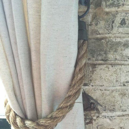 The look of Restoration Hardware for half the price with this hack! DIY Rope Curtain Tie Back.