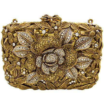 Butler and Wilson gold and silver floral Swarovski clutch.