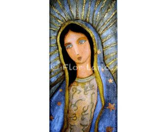 Our Lady of Guadalupe- Print from Painting by FLOR LARIOS (5 x 10 Inches)