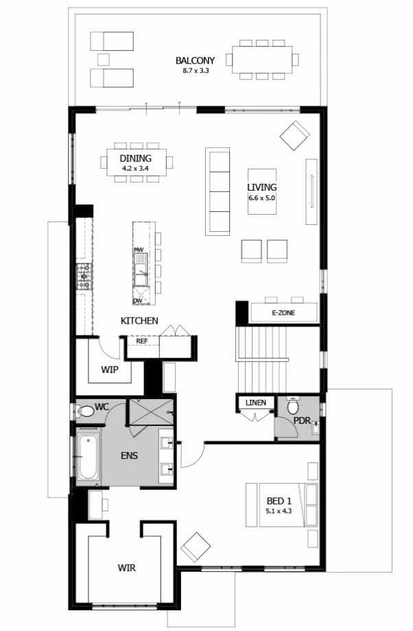 1 Floor House Plans Inspirational E Story House Floor Plans Awesome Single Storey Designs House Floor Plans Narrow House Plans House Plans