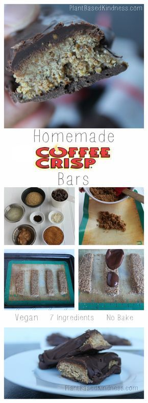 Homemade Coffee Crisp Bars! Vegan, 7 ingredients, easy no-bake, and peanut free recipe! Try this famous canadian snack bar, with a homemade twist!