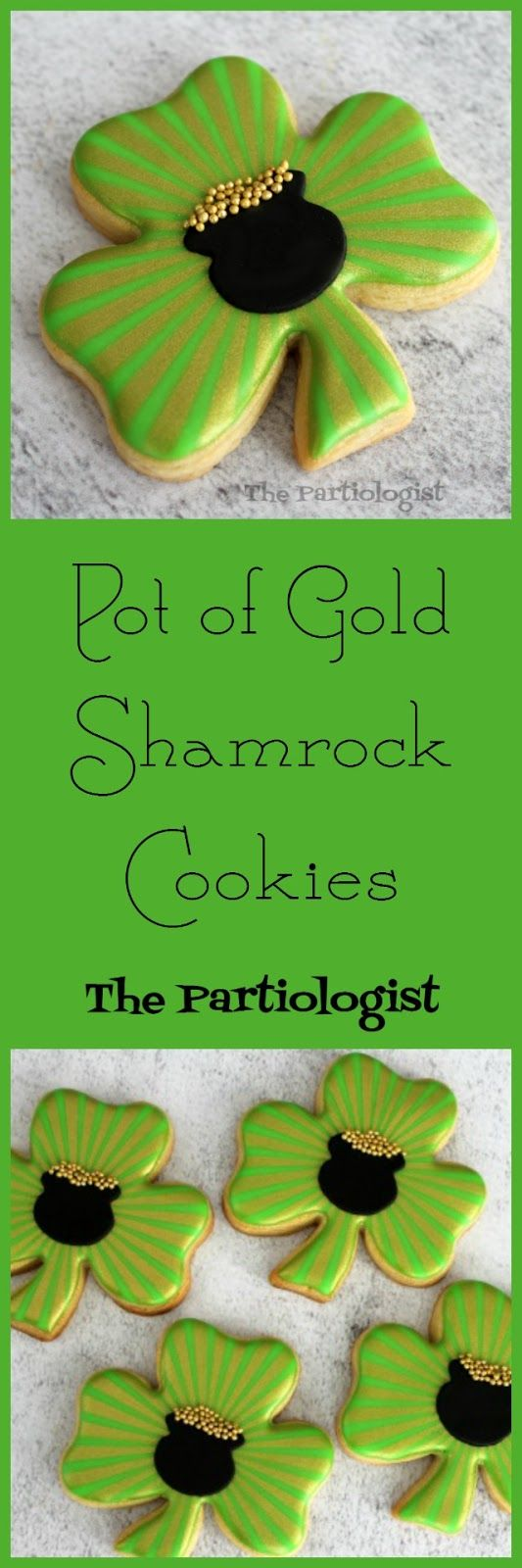 Shamrock Cookies with Pot of Gold