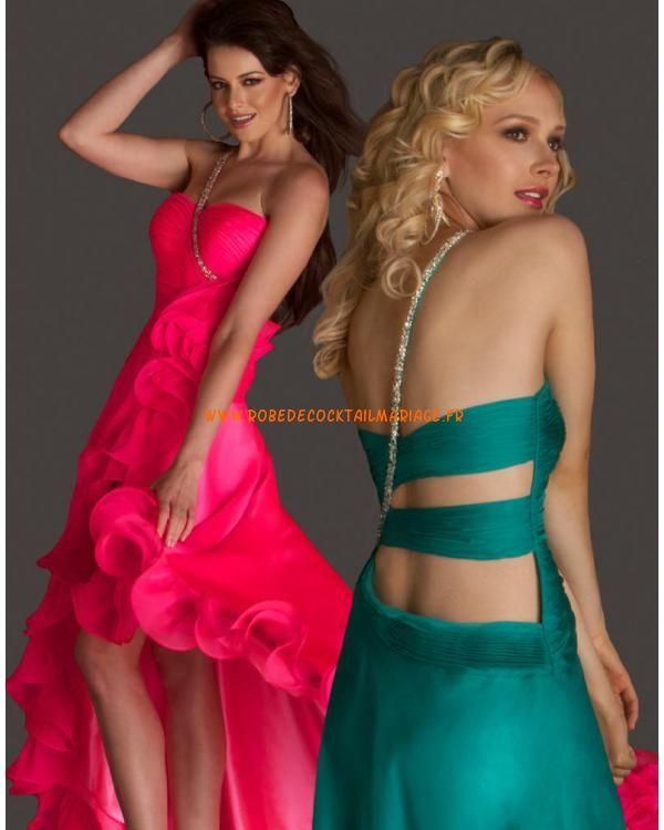 Verte fuchsia asymétrique glamour traîne asymétrique mousseline robe de soirée 2013