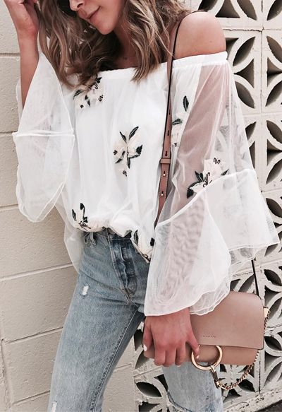Slip into this off-shoulder mesh top with the gorgeous flowers placed all over it for a refreshing, fun look. Morning Refreshing Lilies Off-shoulder Mesh Top featured by Cellajane Blog