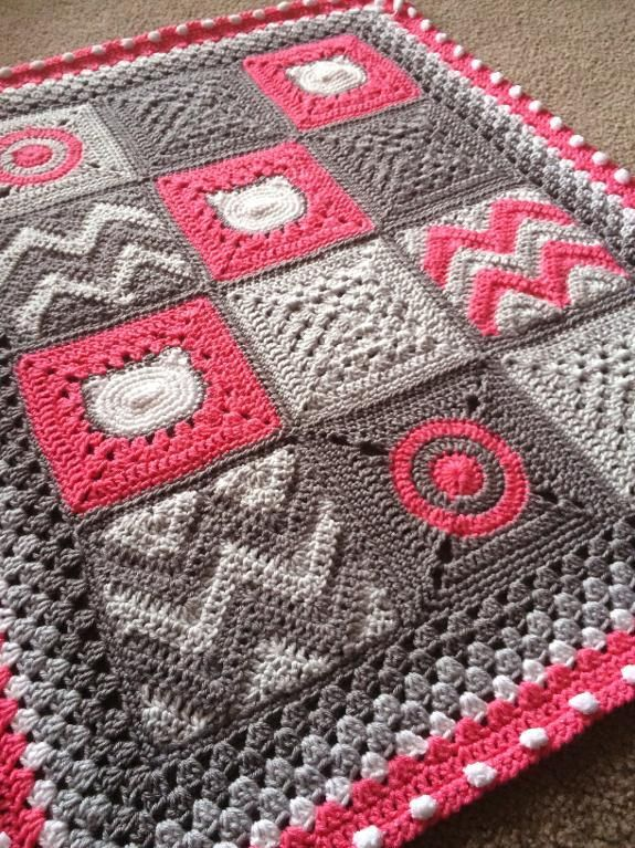 Looking for a crocheting pattern for your next project? Look no further than Modern Patchwork Blanket from BabyLove Brand! - via @Craftsy