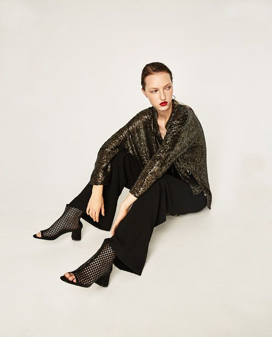 Image 4 of SEQUINNED AND EMBROIDERED CARDIGAN from Zara