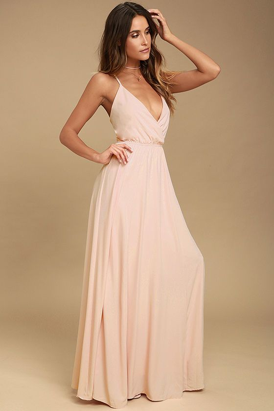 The Everything's All Bright Blush Pink Backless Maxi Dress is here to brighten up all your special days! Woven poly forms this elegant maxi dress with a sultry, surplice bodice, and lace-up back. Full skirt has a bit of elastic at back.