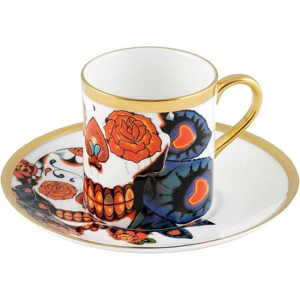 The 'Inkhead' Espresso Cup & Saucer is a stunning piece from the collection featuring the beautiful skull on both the cup and saucer. Taking inspiration from tattoos and edgy art, 'Inkhead' features a vibrant and bold skull design full of colour and detail. Hand gilded 22kt Gold rim and accents – gold tooth, made in Stoke-on-Trent, England. Fine Bone China. Find out more here: https://thenewenglish.co.uk/collections/inkhead #TheNewEnglish #Inkhead #Tattoos