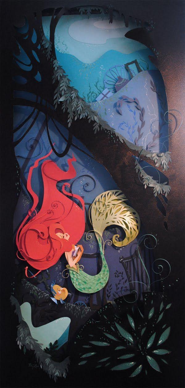 Little Mermaid paper cut-out. #disney #princesses: Sleep Beautiful, Disney Princesses, Cut Paper Art, Paper Sculpture, Paperart, Brittney Lee, Mermaids Art, Cut Outs, The Little Mermaids