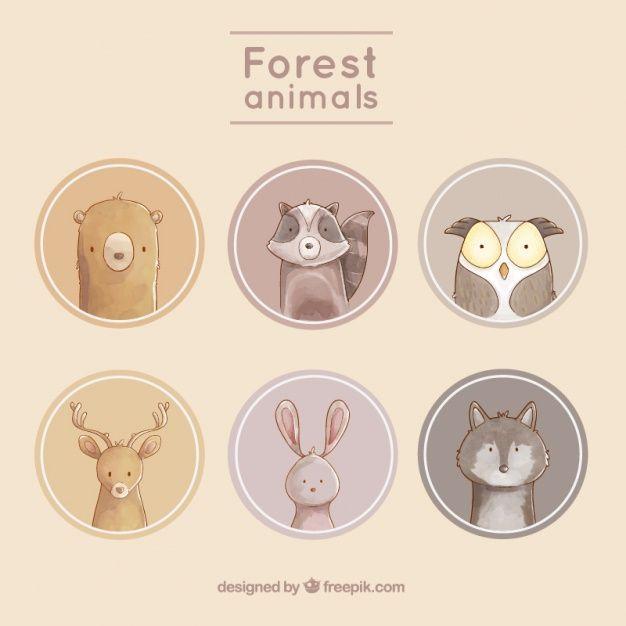 Etiquetas de animais agradáveis com fundos arredondados Vetor grátis