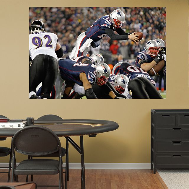 Tom Brady Diving Touchdown Mural | Mike's Man Cave