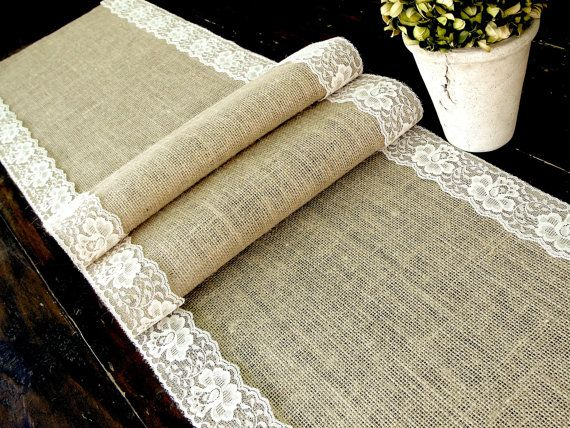Burlap And Lace Table Runner This Would Be Nice For The Banquet Tables