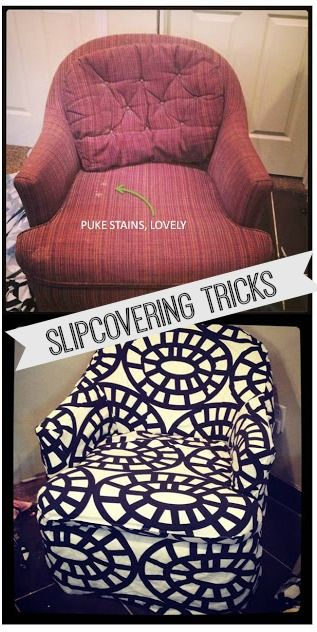 Slipcovering for beginners. How to make it up as you go, and have it turn out like a pro! --------- Dang I wonder if I dare.... i have a super comfy (and dated by the style more than the fabric) chair in the basement, but it's kinda ugly. But I bet with new fabric it would see it in a new light! I would be nice to recover it and be able to use it.
