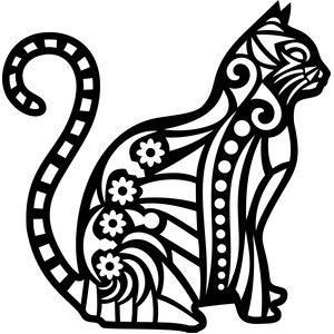Silhouette Design Store - View Design #142481: tribal cat