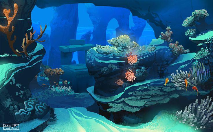 Landscape Illustration Vector Free: Underwater Palace By Ani-r.deviantart.com On @deviantART